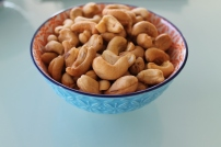 Roasted, unsalted cashews.